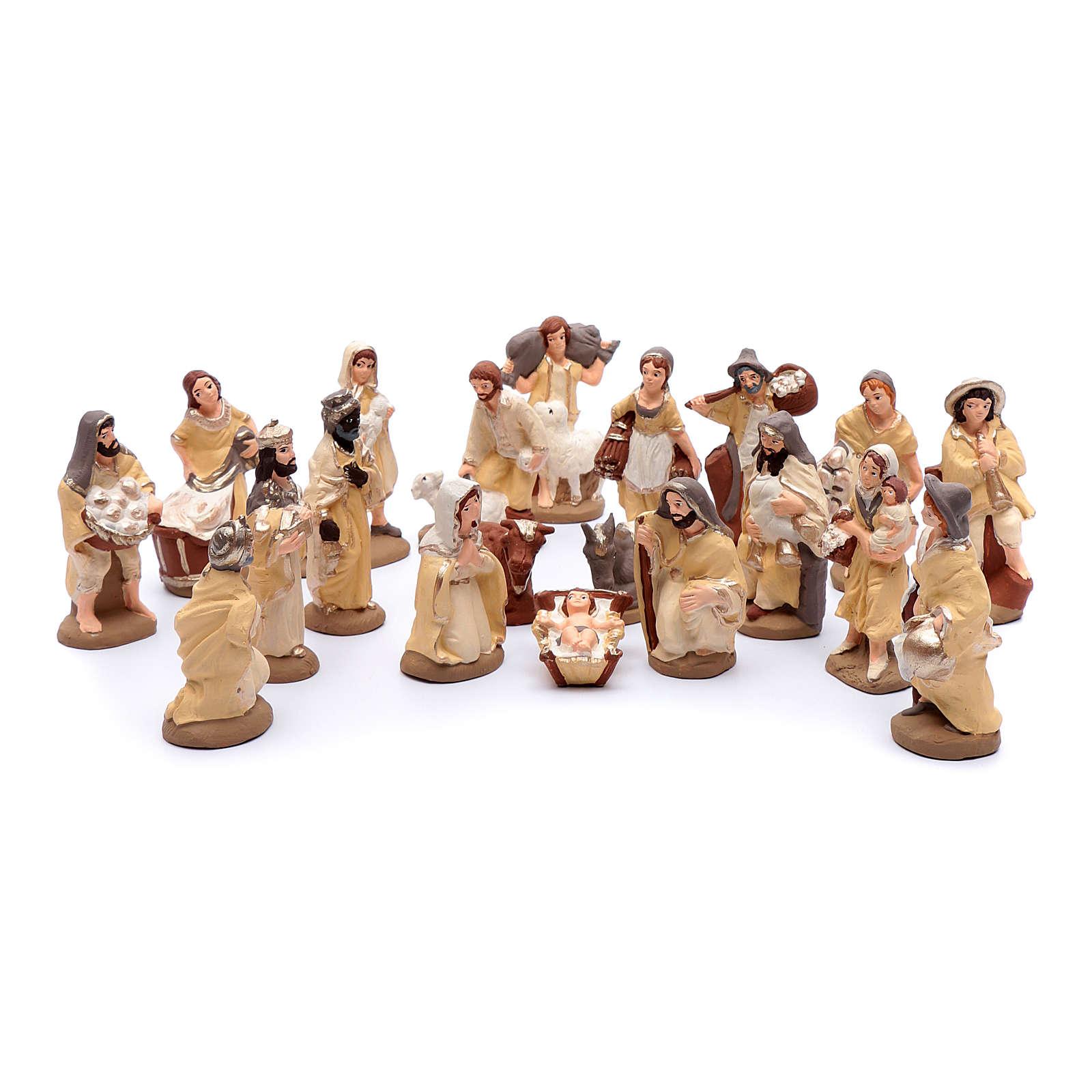 Presepe terracotta dipinta 20 statuine 10 cm 4