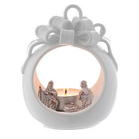 Presépio Terracota Deruta: Lanterna redonda branca terracota de Deruta 12 cm