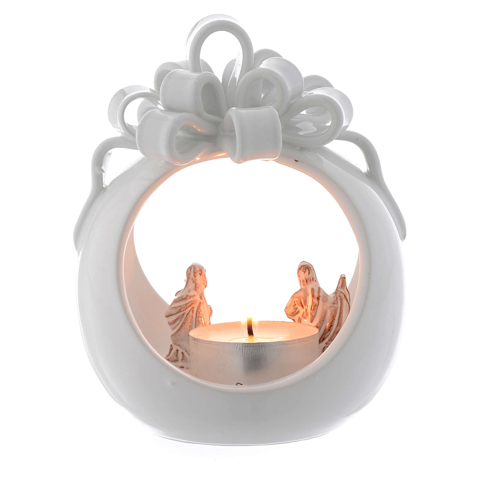 Ball shaped candle in terracotta from Deruta 12 cm 4