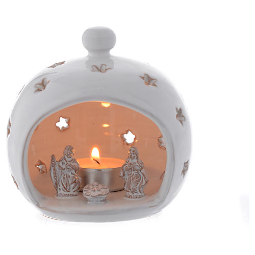 White drilled terracotta candle Holy Family in terracotta from Deruta 13 cm 1