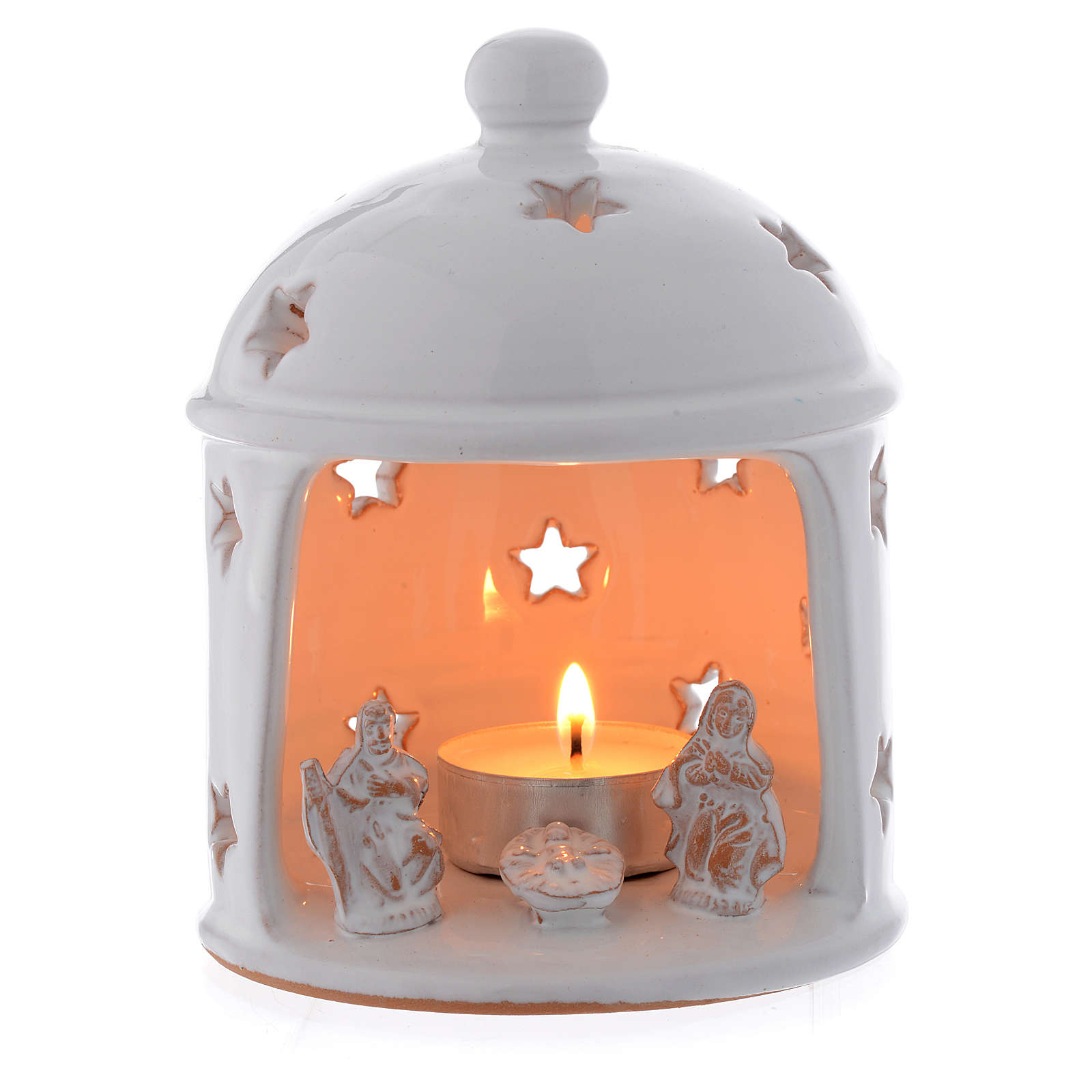 Hut shaped drilled candle in terracotta from Deruta sized 13 cm 4