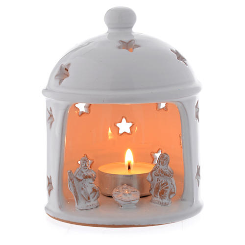 Hut shaped drilled candle in terracotta from Deruta sized 13 cm 1
