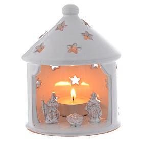 Cabaña candelero blanca perforada de Navidad terracota 13 cm s1