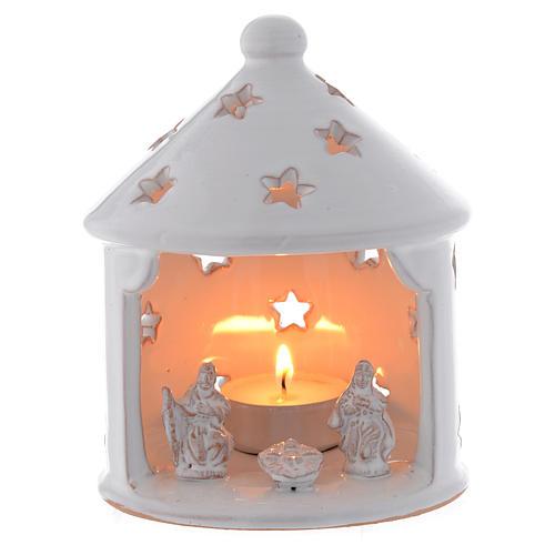 Cabaña candelero blanca perforada de Navidad terracota 13 cm 1