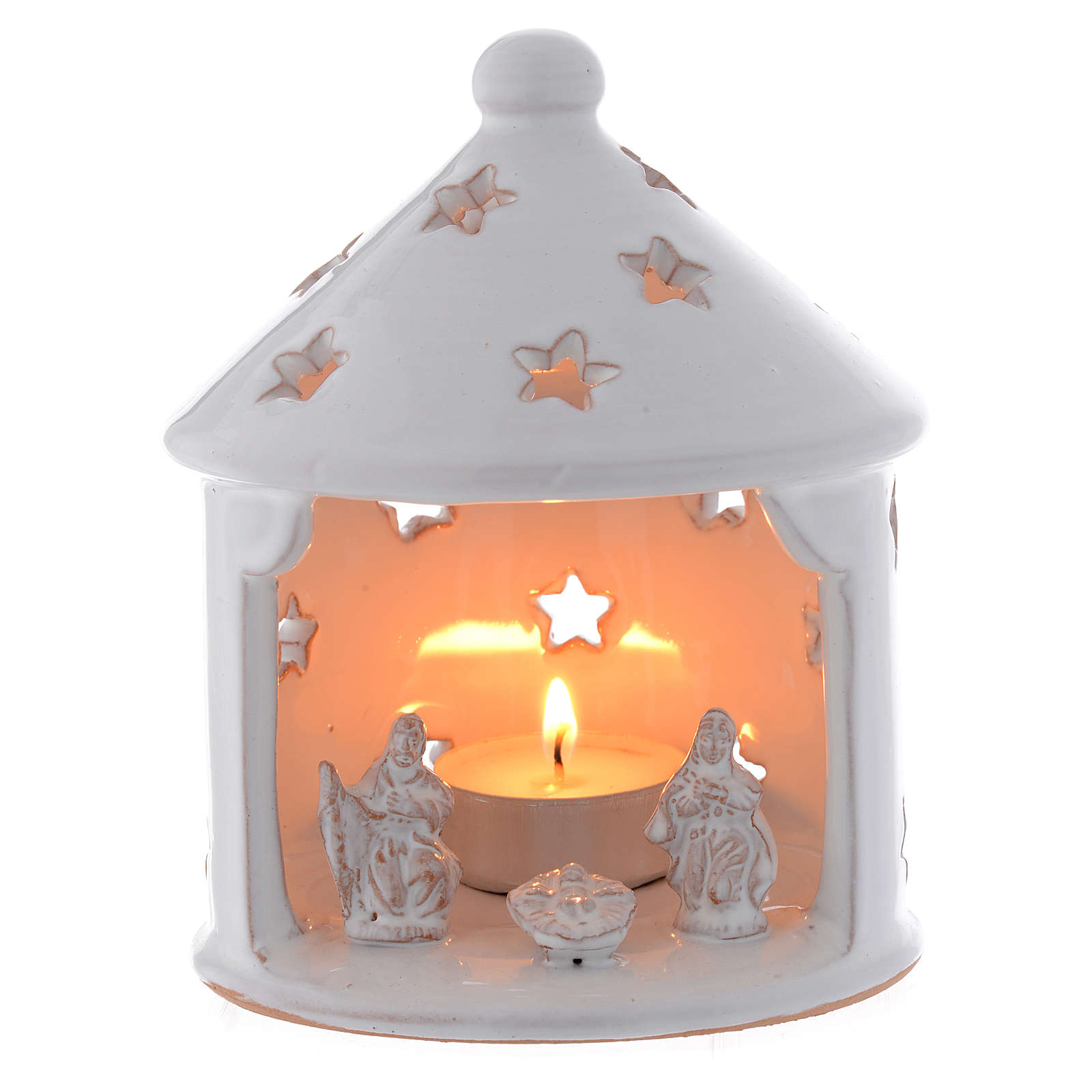 Drilled Christmas hut shaped candle holder in terracotta 13 cm 4