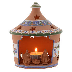 Christmas hut shaped candle holder in terracotta 13 cm s1