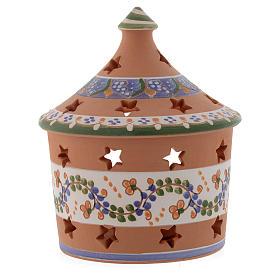 Christmas hut shaped candle holder in terracotta 13 cm s2