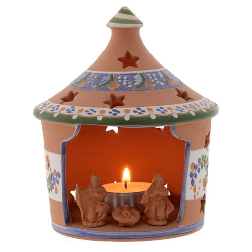 Christmas hut shaped candle holder in terracotta 13 cm 1