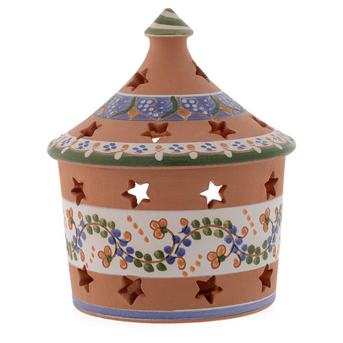 Christmas hut shaped candle holder in terracotta 13 cm 2