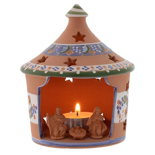 Candelero de Navidad cabaña Natvidad terracota Deruta 13 cm 1