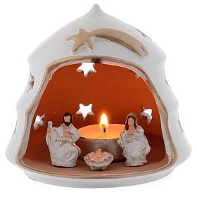 Presépio Terracota Deruta: Lanterna forma árvore de Natal terracota 13 cm