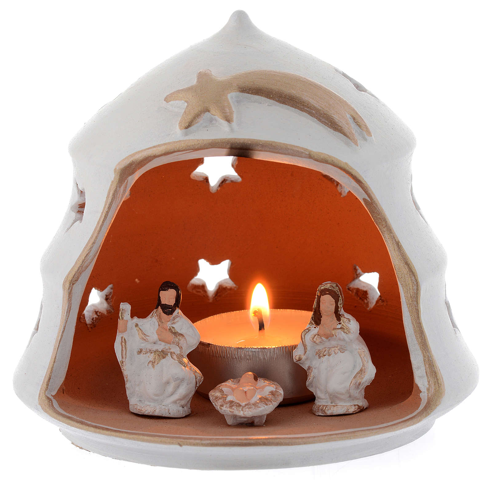 Christmas tree shaped candle holder in terracotta sized 13 cm 4