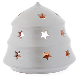Christmas tree shaped candle holder in terracotta sized 13 cm s2