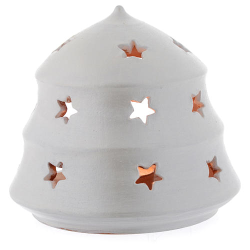 Christmas tree shaped candle holder in terracotta sized 13 cm 2