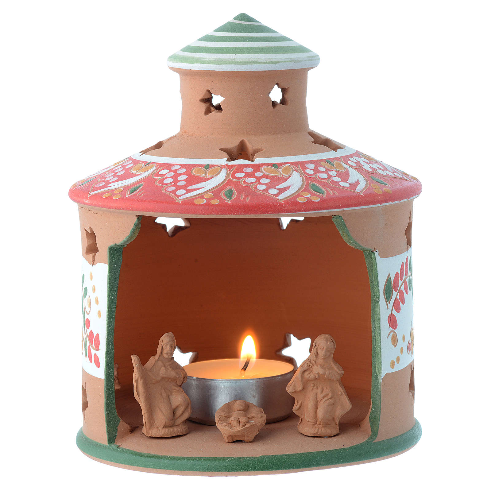 Drilled hut shaped candle holder in terracotta from Deruta 13 cm 4