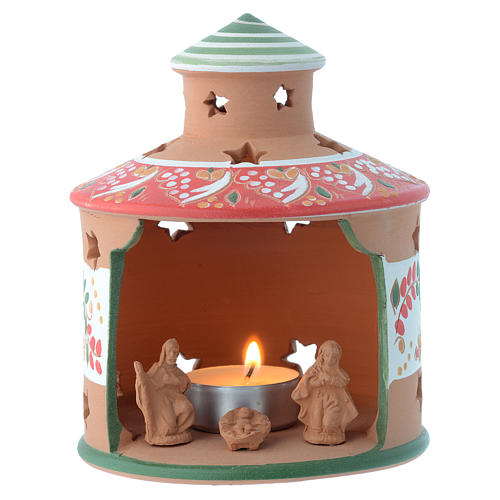 Drilled hut shaped candle holder in terracotta from Deruta 13 cm 1