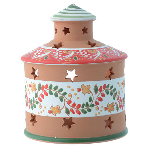 Drilled hut shaped candle holder in terracotta from Deruta 13 cm 2