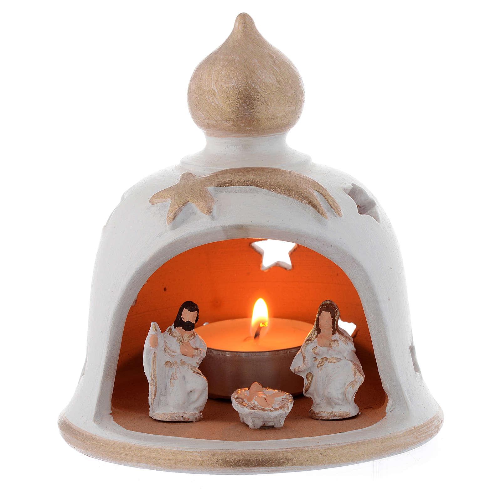 Candelero Navideño campana con Natividad terracota 13 cm 4