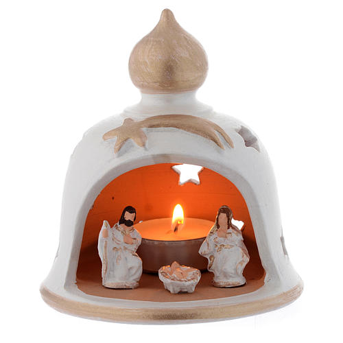 Candelero Navideño campana con Natividad terracota 13 cm 1