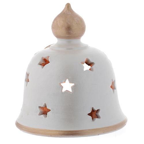 Candelero Navideño campana con Natividad terracota 13 cm 2