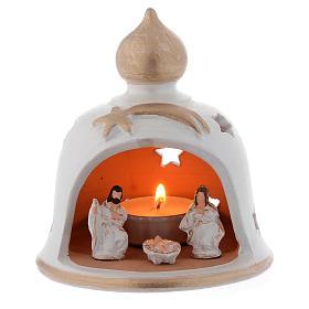Lume Natalizio campana con Natività terracotta 13 cm s1