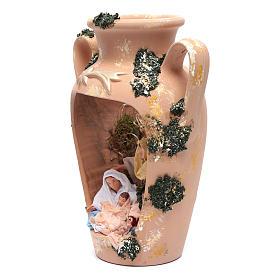 Natività 16 cm nel vaso a due manici terracotta Deruta 35 cm s2