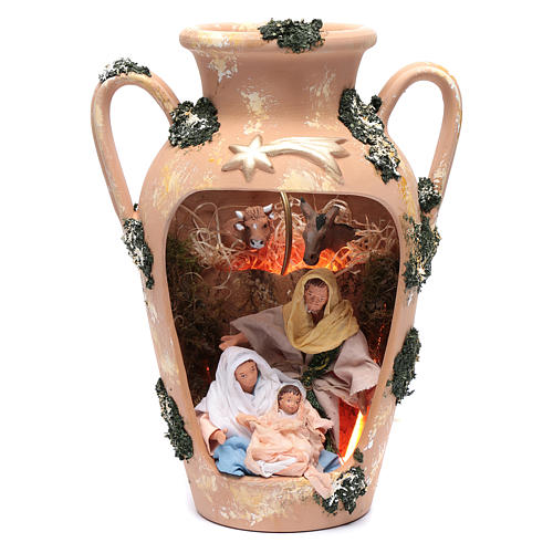 Natività 16 cm nel vaso a due manici terracotta Deruta 35 cm 1
