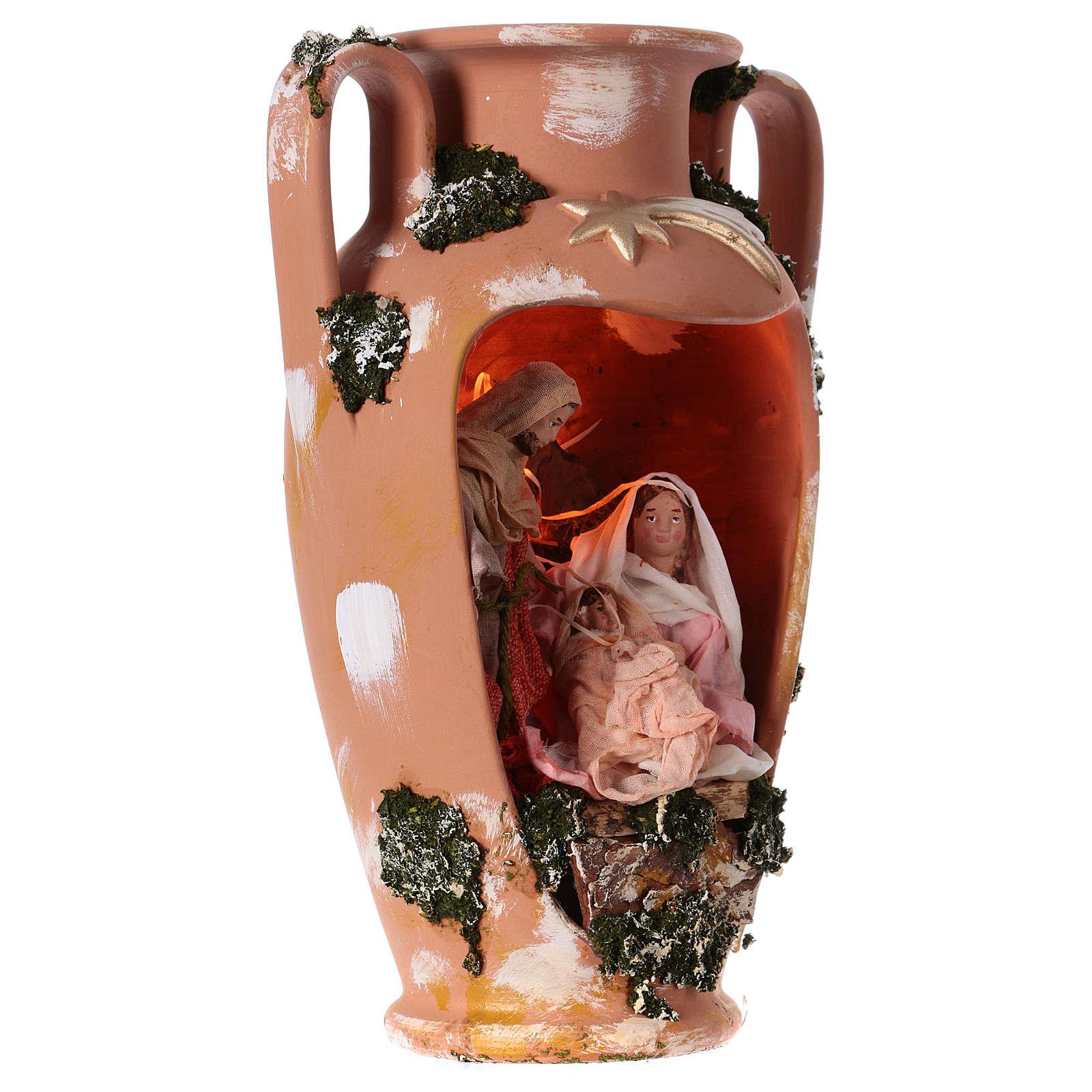 Natividade figuras altura média 16 cm numa jarra com 2 pegas terracota Deruta 35 cm 4