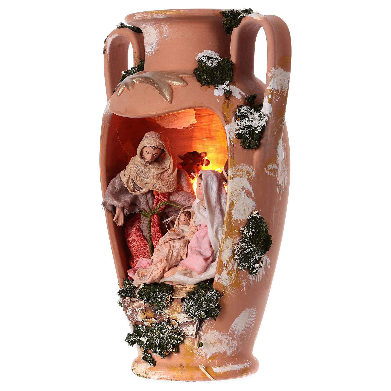 Holy family in vase with two handles 16 cm in terracotta from Deruta 35 cm 4