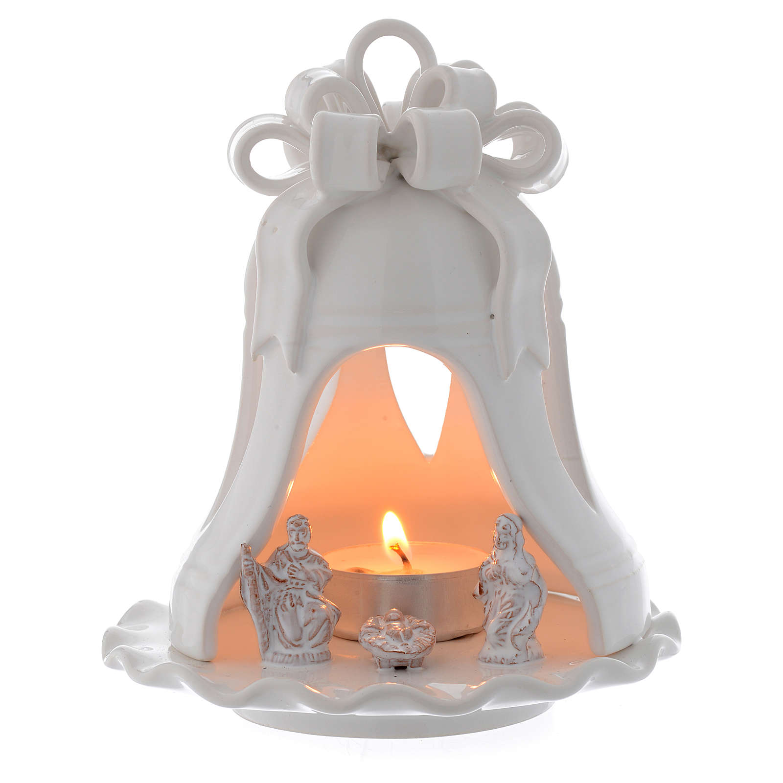 Christmas candle holder bell shaped in terracotta from Deruta 12 cm 4