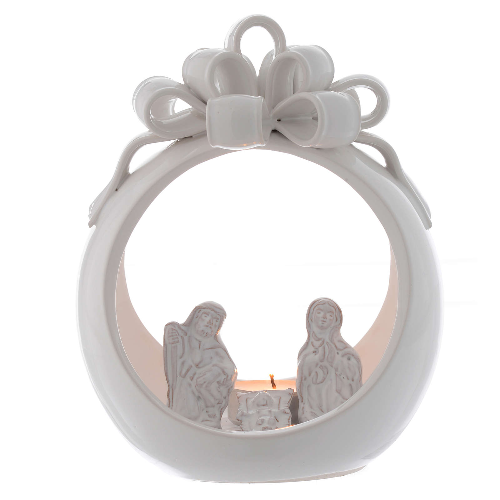 Christmas candle holder white ball in terracotta from Deruta 17 cm 4