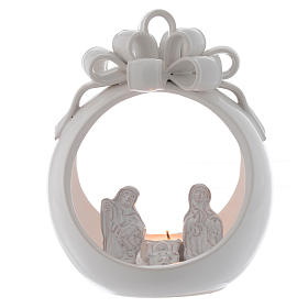 Christmas candle holder white ball in terracotta from Deruta 17 cm s2