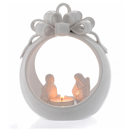 Christmas candle holder white ball in terracotta from Deruta 17 cm 1