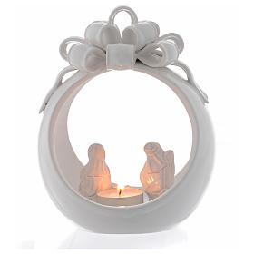 Presépio Terracota Deruta: Lanterna de Natal bola branca terracota Deruta 17 cm