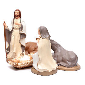 Nativity set in painted clay 5 figurines 40cm, elegant style s2