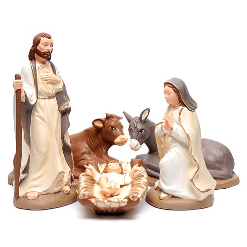 Nativity set in painted clay 5 figurines 40cm, elegant style 1