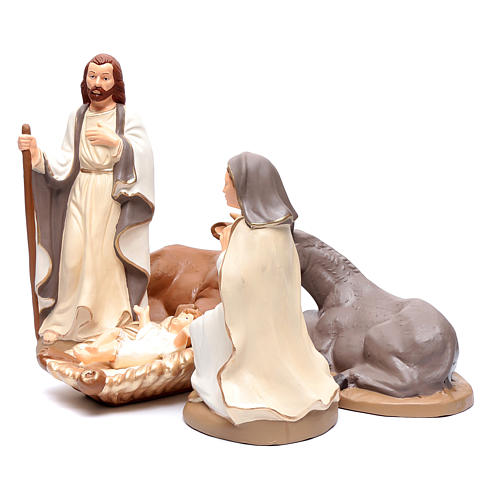Nativity set in painted clay 5 figurines 40cm, elegant style 2
