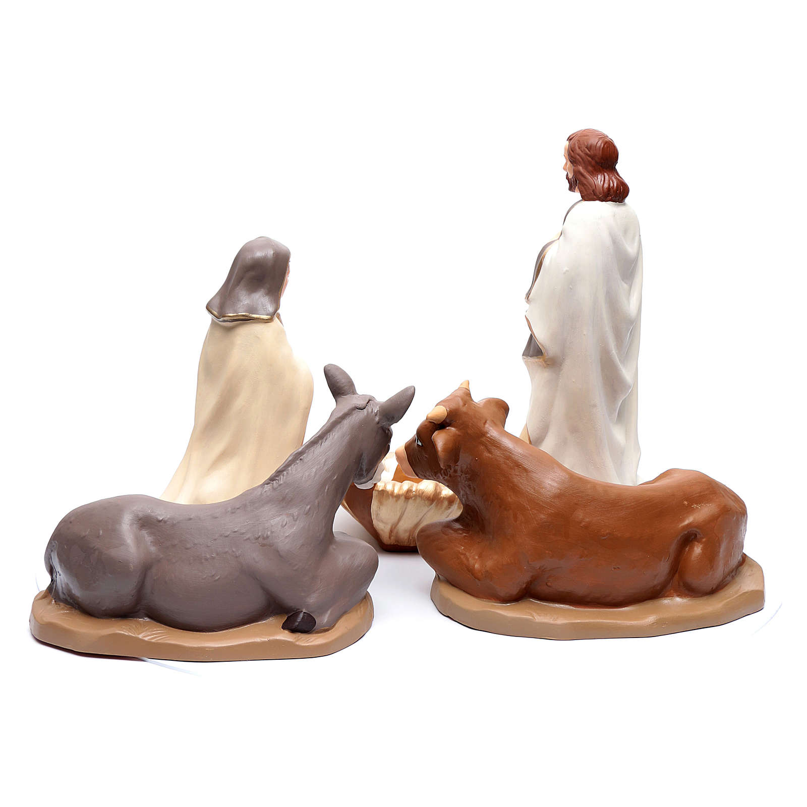 Nativity set in painted clay 5 figurines 40cm, elegant style 4