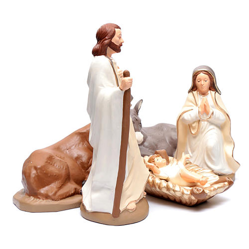 Nativity set in painted clay 5 figurines 40cm, elegant style 3