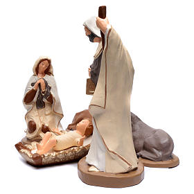 Nativity set in painted clay 5 figurines 50cm, elegant style s2