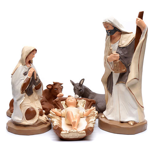 Nativity set in painted clay 5 figurines 50cm, elegant style 1