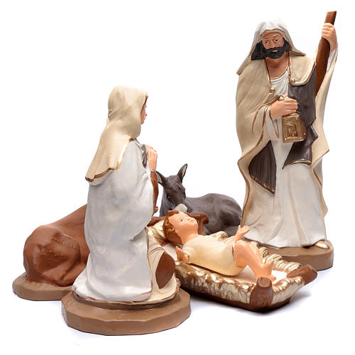 Nativity set in painted clay 5 figurines 50cm, elegant style 3