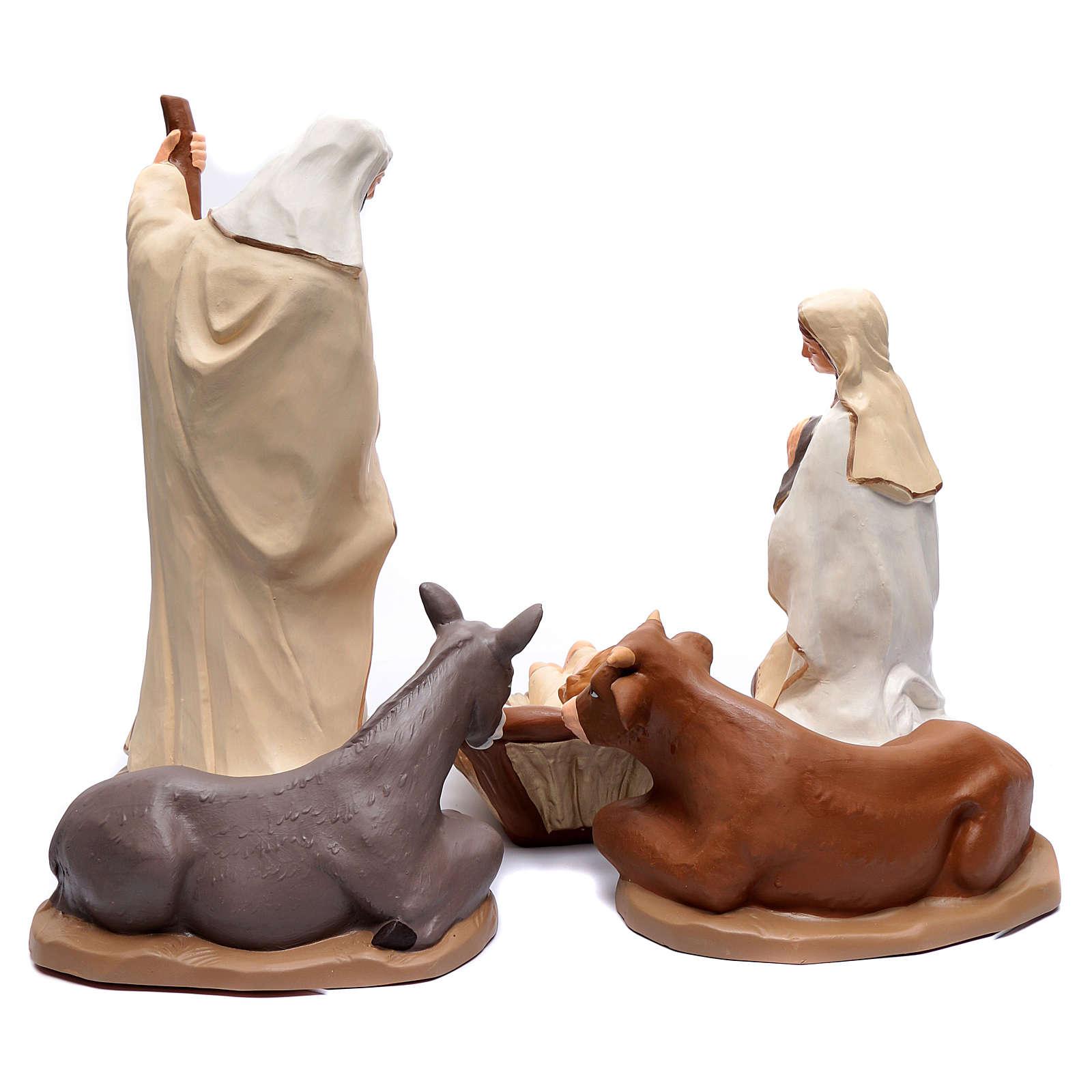 Presepe decoro elegante terracotta Deruta 5 statue 50 cm 4