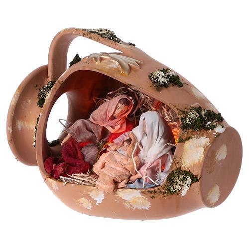 Ánfora con Natividad terracota Deruta 30cm 2