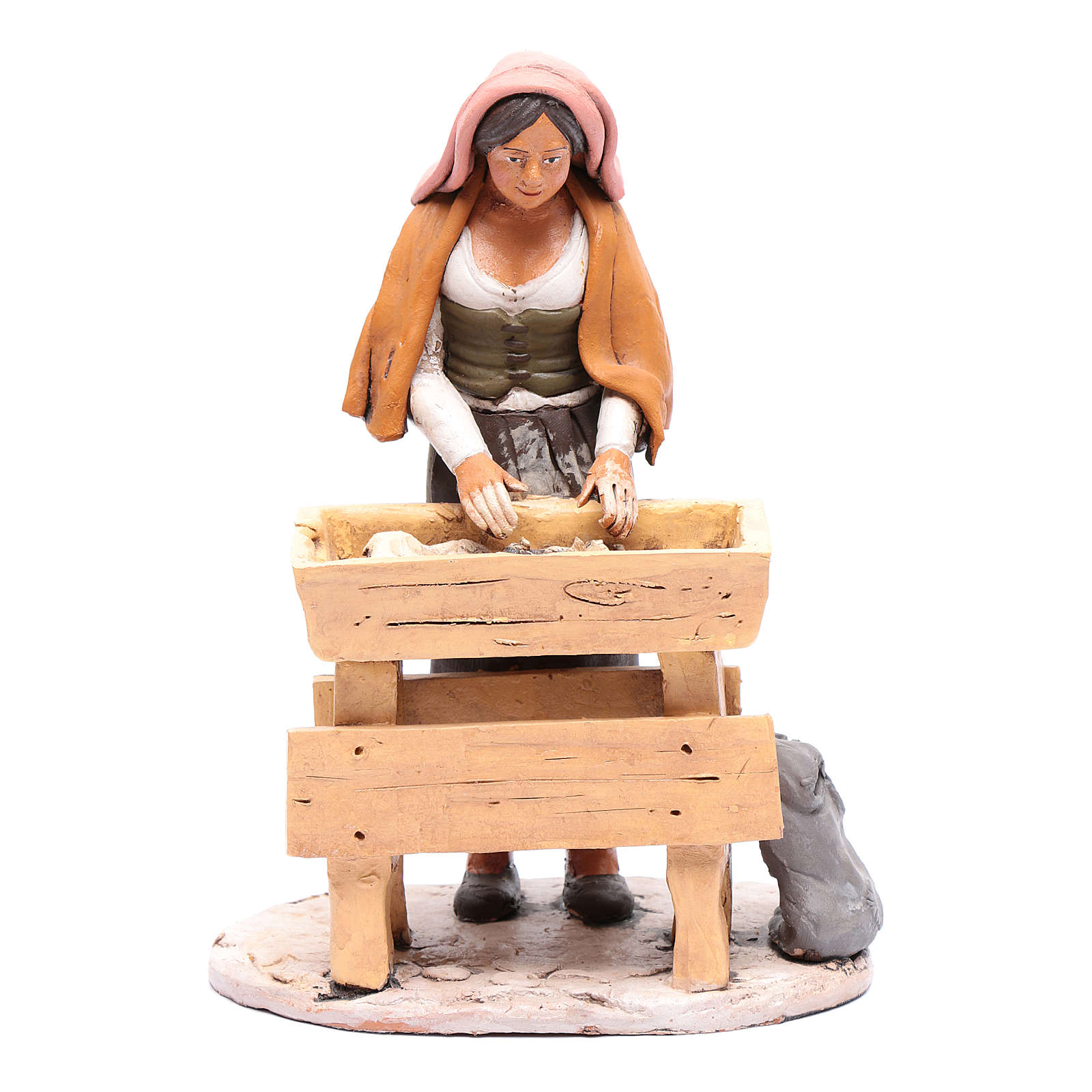 Donna che impasta in terracotta presepe Deruta 30 cm 4