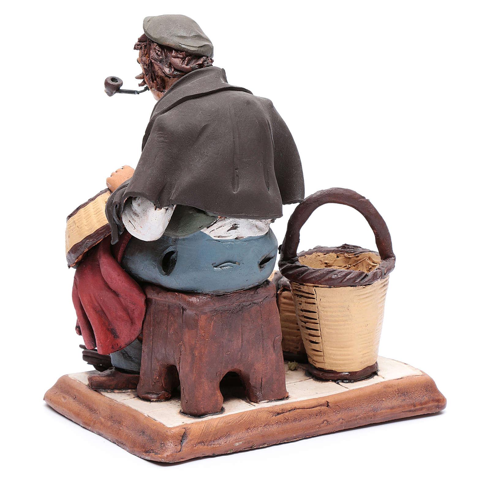 Uomo aggiusta ceste terracotta presepe Deruta 30 cm 4