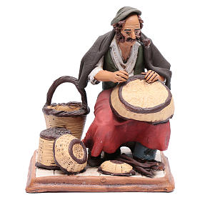 Uomo aggiusta ceste terracotta presepe Deruta 30 cm s1