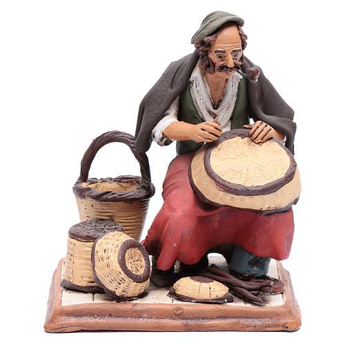 Uomo aggiusta ceste terracotta presepe Deruta 30 cm 1
