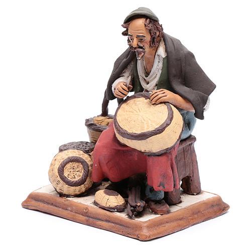 Uomo aggiusta ceste terracotta presepe Deruta 30 cm 2