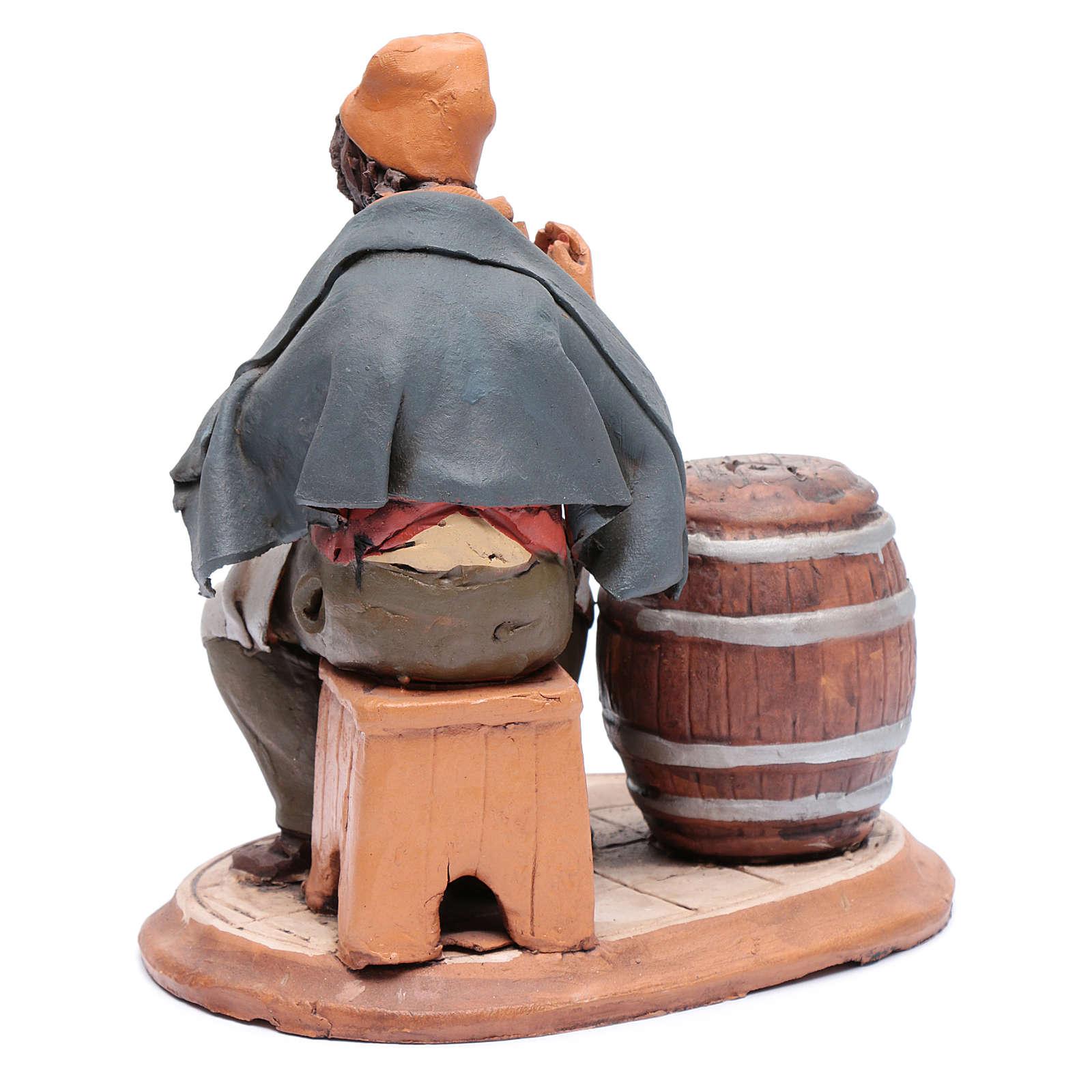 Uomo aggiusta botti terracotta per presepe Deruta 30 cm 4